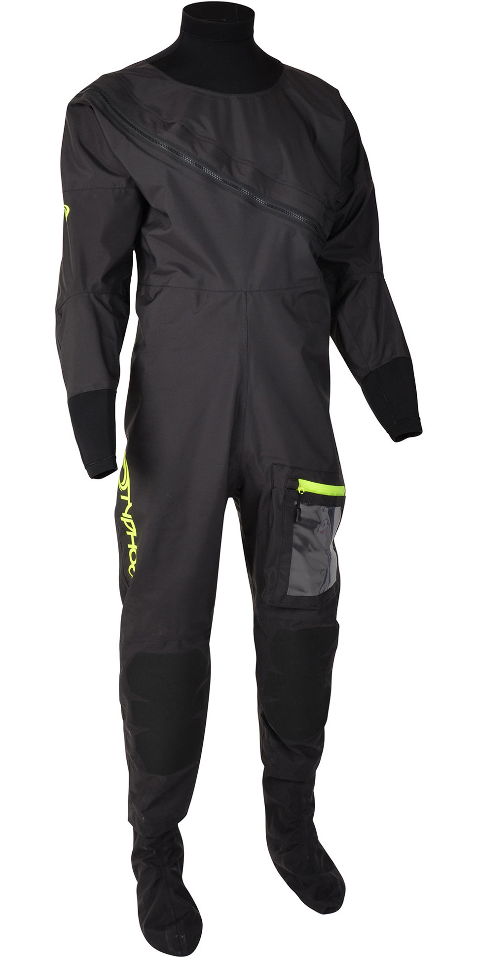 2020 Typhoon Herren Ezeedon 4 Front Zip Drysuit & Free Underfleece 100174 - Schwarz