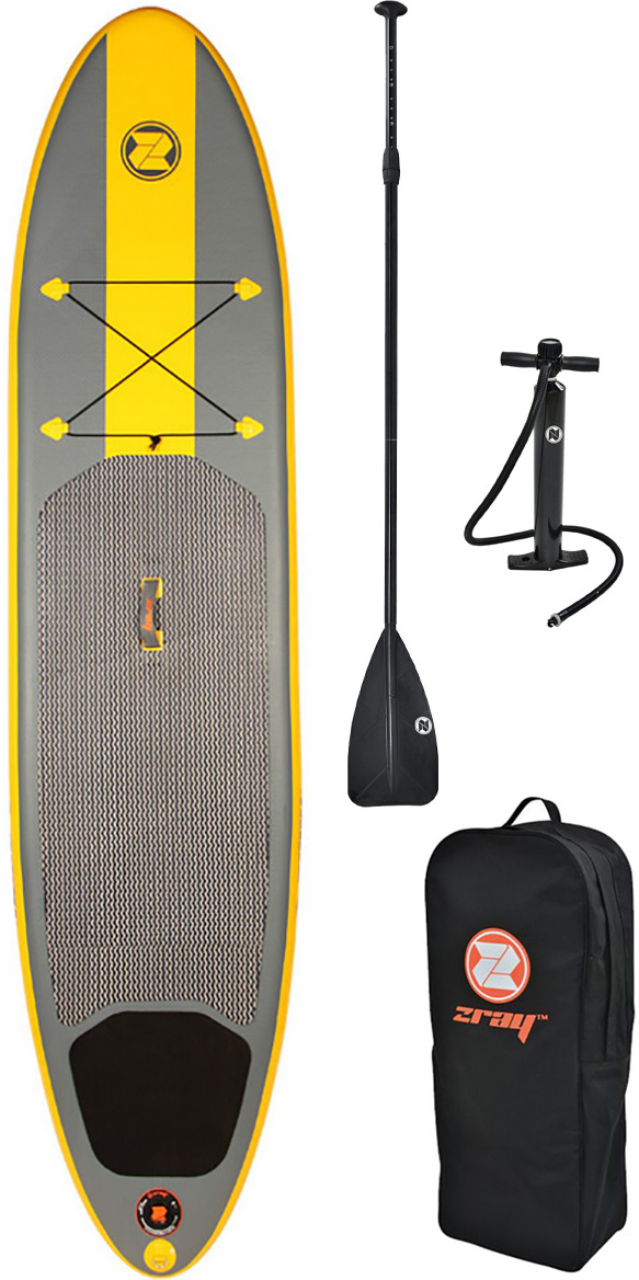 """Typhoon X2 10'10 x 6"""" Inflatable SUP Board Package An incredible value SUP package including everything you need to get on the water. Ideally suited to a first time SUP rider, and equally suitable for families looking for a stable platform to get to grips with stand up paddling - the most accessible and fun way to get on the water. The Typhoon ZRay X2 is a comfortable size at 10'10"""" and being 6"""" thick ensures stability and reassuring comfort for the first time SUP'er, heavier rider, yoga enthusiast, and families looking for a board that can take an adult and child or multiple children. This SUP is capable of taking a total weight of around 145kg. Despite the low price of this fantastic package, the X2 still offers technology which confirms it as a serious SUP board, and elevates it away from the cheaper boards you may find at the bottom of the market. Premium PVC double layer construction and incredibly tough Rhino™ technology material make it difficult to damage, meaning a boar"""