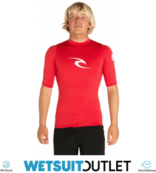 Red All Sizes Rip Curl Corpo Short Sleeve Mens Surf Gear Rash Vest