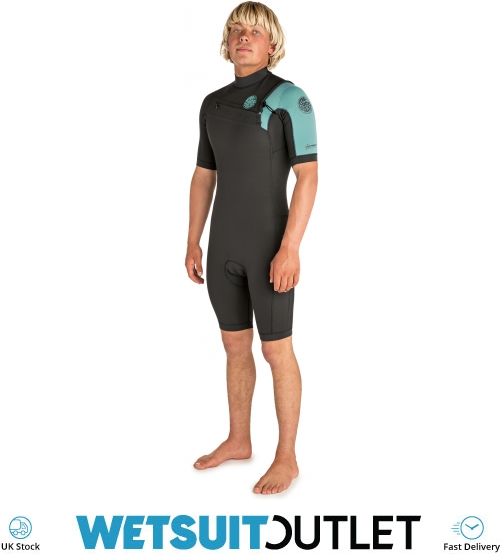 Rip Curl Mens Aggrolite 2mm Chest Zip Long Sleeve Shorty Wetsuit Teal