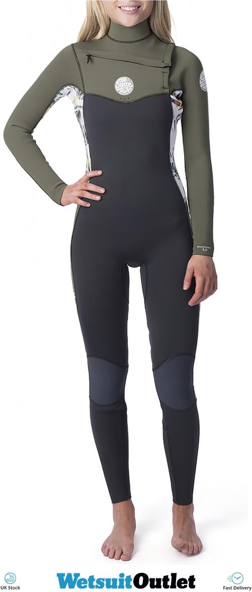 New Rip Curl Women/'s Dawn Patrol 4//3mm Chest Zip Full Wetsuit Black