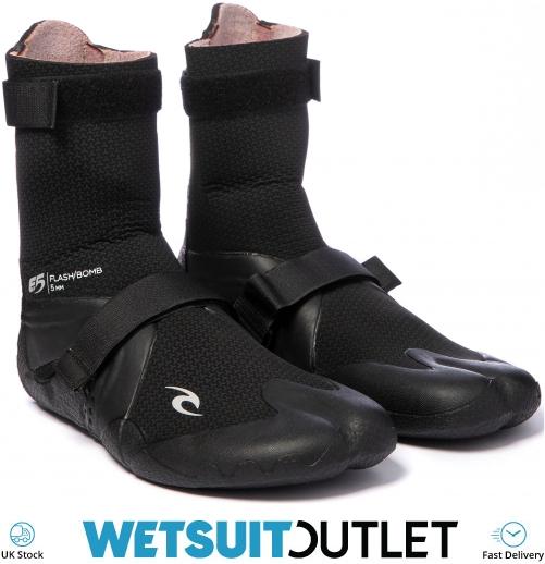 2020 Rip Curl Flashbomb 5mm Hidden Split Toe Boots WBO7IF Black Våtdräkter