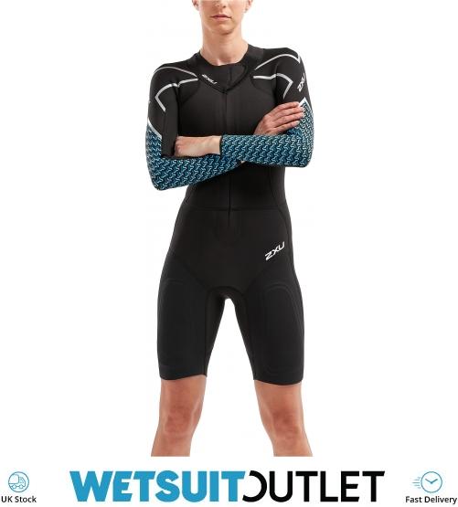 8b8c6078b4 2019 2XU Womens Pro Swim-run Sr1 Wetsuit Black Aquarius Teal Print Ww5480c  - Womens | Watersports Outlet