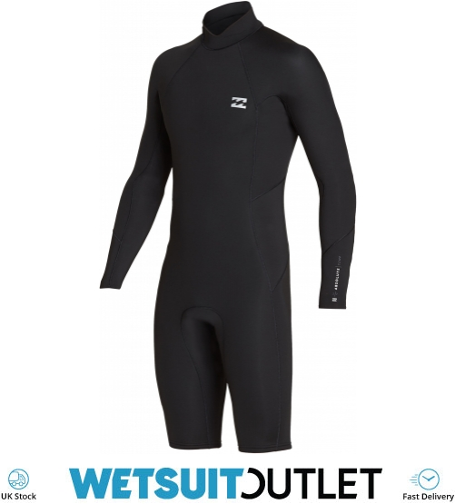 2e83130ee517 2019 Billabong Mens 2mm Furnace Absolute Long Sleeve Gbs Back Zip Shorty Wetsuit  Black Silver N42m21 | Watersports Outlet