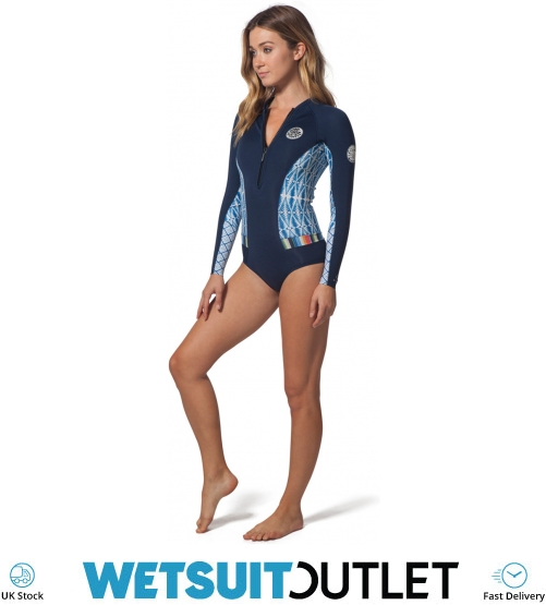 2018 Rip Curl Womens G-Bomb 1mm LS Front Zip Hi Cut Shorty Wetsuit Blue SUB  WSP7LW - Vrouwen  6618f82e9