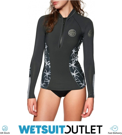 aee67886e6 2018 Rip Curl Womens G-Bomb 1mm Long Sleeve Front Zip Neo Jacket Black /  Grey WVE6KW