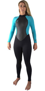 2021 O'Neill Womens Reactor II 3/2mm Back Zip Wetsuit BLACK / AQUA 5042