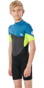 2021 Rip Curl Junior Boys Omega 1.5mm Back Zip Spring Shorty Wetsuit WSPYFB - Neon Lime