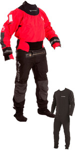 2019 Typhoon Multisport 4 Four Drysuit Inklusive Con Zip & Underfleece Red / Black 100140