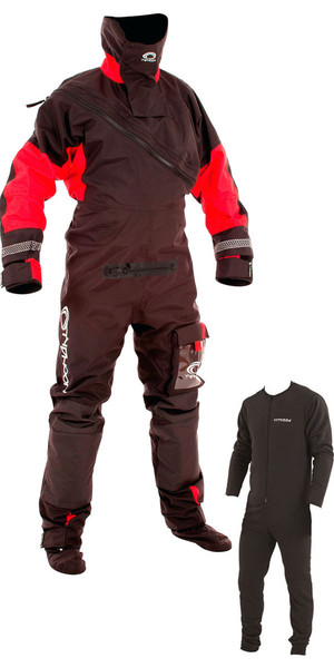 2019 Typhoon Max B Drysuit With Con Zip Black / Red  Including Underfleece 100153-C