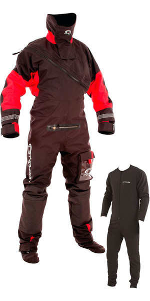 2018 Typhoon Max B Drysuit With Con Zip Black / Red  Including Underfleece 100153-C