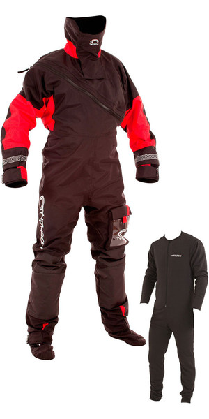 2019 Typhoon Max B Front Zip Drysuit Black / Red Including Underfleece 100153
