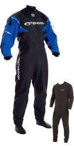 2018 Typhoon Hypercurve 3 Back Zip Drysuit with Socks Black / Blue Including Underfleece 100155