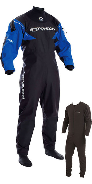 2018 Typhoon Hypercurve 3 Back Zip Drysuit with Socks Black / Blue Including Underfleece 100155