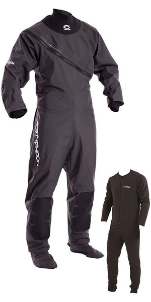 2019 Typhoon Ezeedon 3 Front Zip Drysuit Grey  Including Underfleece 100158