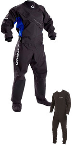 2020 Typhoon Womens Ezeedon 3 Drysuit Front Zip + Fabric Socks & Underfleece Black / Blue 100159
