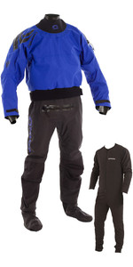 2019 Typhoon Multisport 5 Drysuit Calcetines De Tela Sello Látex + Con Zip Inc Underfleece Azul / Negro 100166