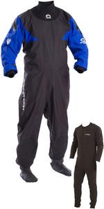 2019 Typhoon Hypercurve 4 Back Zip Drysuit & Underfleece Schwarz / Blau 100169