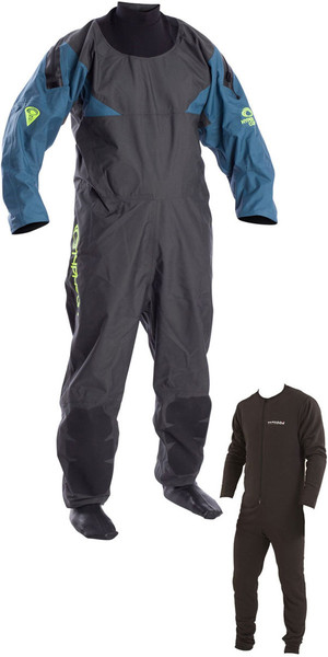 2019 Typhoon Hypercurve 4 Back Zip Drysuit with Socks & Underfleece Teal / Grey 100170