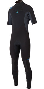 2019 Magic Marine Mens Brand 3/2mm Short Arm Back Zip Wetsuit Black / Blue 160015