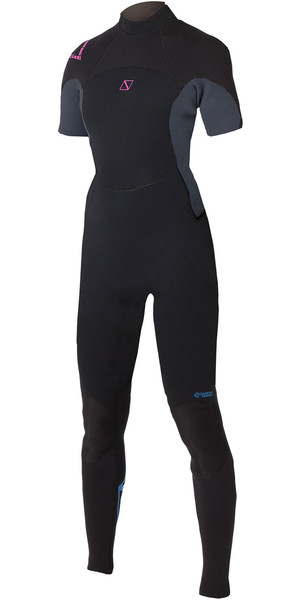 2019 Magic Marine Womens Brand 3/2mm Short Arm Back Zip Wetsuit Black / Pink 160210