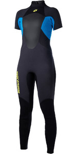 2019 Magic Marine Womens Ultimate 3 / 2mm back Zip korte arm Wetsuit blauw 170095