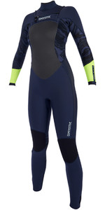 2019 Mystic Diva Dames 3/2mm Gbs Wetsuit Met Chest Zip Navy / Limoen 190016