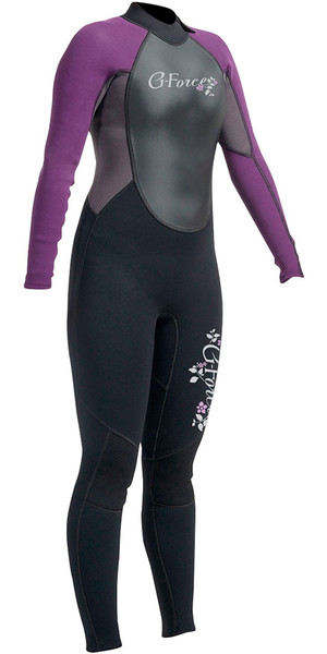 2018 Gul G-Force 3mm Womens Back Zip Steamer Wetsuit Black / Mulberry GF1306-A9
