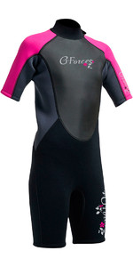 2020 Gul G-force Júnior Shorty 3/2mm Wetsuit Em Preto / Rosa Gf3308-a9