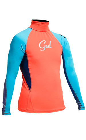2018 Gul Junior Girls manica lunga Rash Vest in Coral / Turchese RG0346-A9