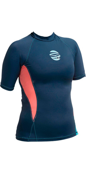Gul Ladies Swami Short Sleeve Rash Vest Navy / Coral RG0330-A9