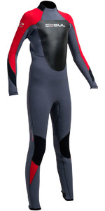 2020 Gul Junior Response 5/3mm Back Zip Wetsuit Graphite / Vermelho Re1218-b1