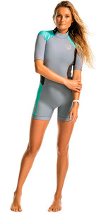 Rip Curl Dames Dawn Patrol 2mm Back Zip Spring Shorty Wetsuit Turquoise Wsp4fw