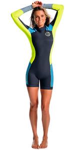 Rip Curl Dawn Patrol Kvinder 2mm Tilbage Zip Langærmet Forår Shorty Wetsuit Blue WSP4GW