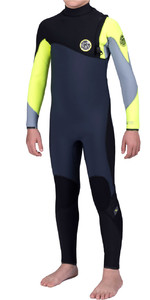Rip Curl Júnior Bomba Flash 4/3mm Gbs Zip Free Wetsuit Fluro Limão Wsm6mb