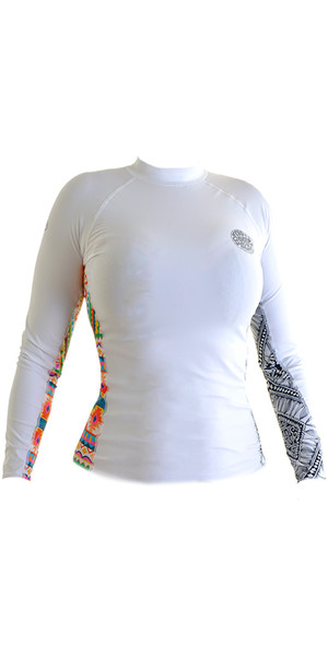 2018 Rip Curl Ladies All Over Rash Vest manica lunga bianco WLE8KW