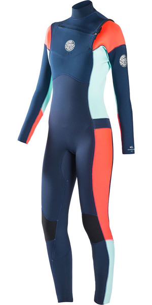 Rip Curl Womens Dawn Patrol 3/2mm GBS Chest Zip Wetsuit NAVY WSM6KW