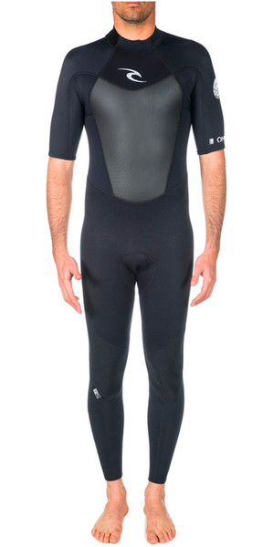 Rip Curl Omega 2mm S / S Cremallera trasera Flatlock Wetsuit Negro WSM4NM