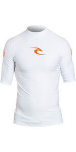 2019 Rip Curl Corpo Kurzarm UV T-Shirt Rash Vest Weiß WLE4KM