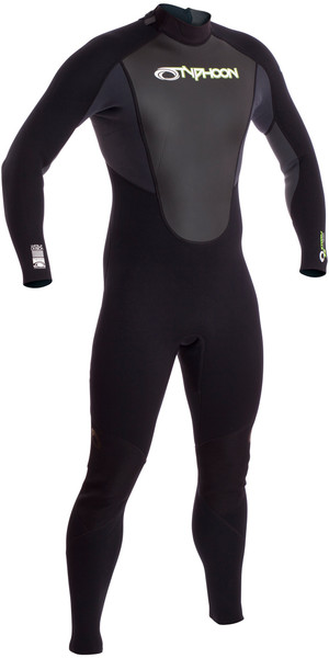 2019 Typhoon Storm 3/2mm Flatlock Back Zip Wetsuit Graphite / Black 250782