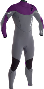 2019 Typhoon TX2 5/4/3mm Chest Zip Wetsuit MULBERRY / GREY 250632