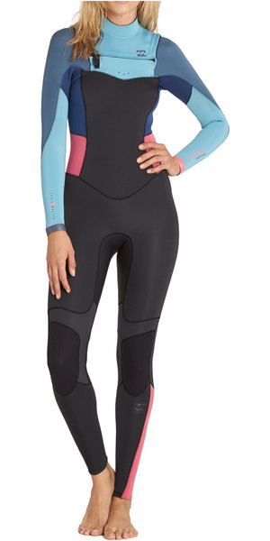 2018 Billabong Teen Girls 4/3mm Synergy Chest Zip Wetsuit AGAVE F44B15