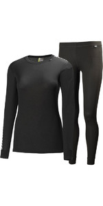 2019 Helly Hansen Femme COMFORT DRY 2-PACK Base Layer NOIR 48675