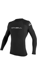2020 O'Neill Mens Basic Skins Long Sleeve Crew Rash Vest 3342 - Black