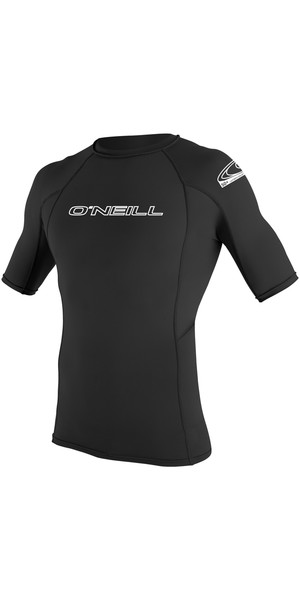 2019 O'Neill Basic Skins Short Sleeve Crew Rash Vest BLACK 3341
