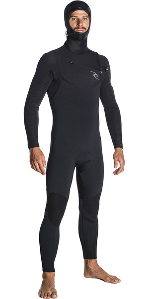 2018 Rip Curl Dawn Patrol 5 / 4mm Hooded Zip Zip Wetsuit BLACK WSM7SM