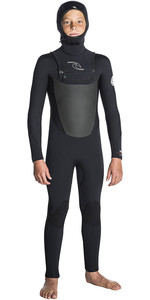 Rip Curl Júnior Dawn Patrol 5/4 Chest Zip Com Capuz Wetsuit Preto Wsm7hb