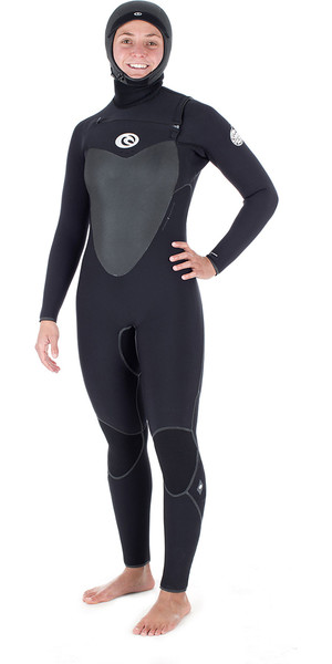 2017/18 Rip Curl Ladies Flashbomb 6/4mm Hooded Chest Zip Wetsuit BLACK WSM7HG