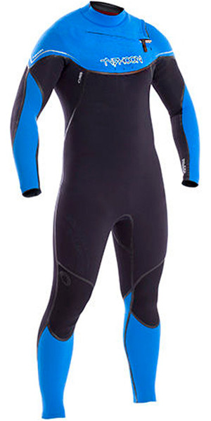 2018 Typhoon Kona 5/4 / 3mm GBS Chest Zip Wetsuit NEGRO / Azul 250611
