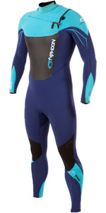 2019 Typhoon TX2 3/2mm Wetsuit Met Chest Zip Zwart / Navy II / Cyaan 250720
